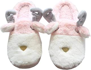 Lesirit Warm Slippers Christmas Cute Plush Elk Indoor Slippers Shoes