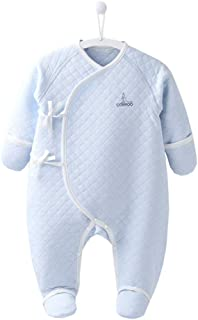 COBROO 100% Cotton Newborn Footie Pajamas with Mittens Side-Belt Infant Footed Sleeper Cozy Warm Baby Outfits 0-6 Months