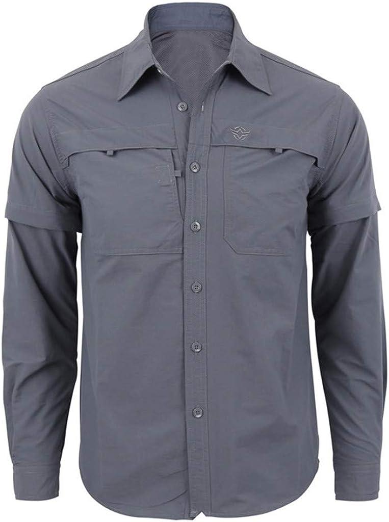 iHPH7 Mens Military Lightweight Long Sleeve Slim Fit Solid Pockets Autumn Workwear Shirt Jacket