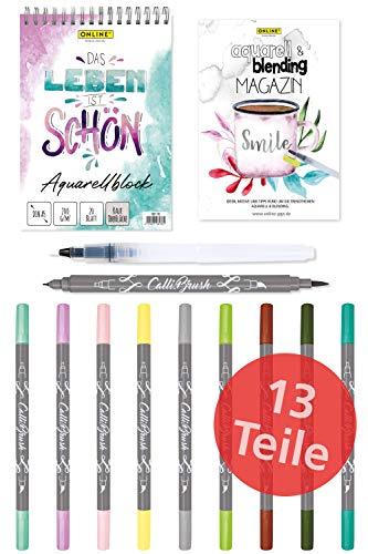 Online Aquarellset I Aquarell-Malset für Handlettering, Kalligrafie oder Zeichnen I bestehend aus einem Aquarellpapier-Block, 10 Brush Pens Double-Tip, einem Waterbrush-Pen und einem Aquarell-Magazin