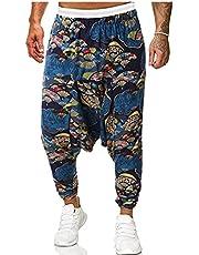 fregthf Mezczyzni Harem Spodnie Bawelniane Lniane Tkaniny Drukowane Luzne Casual Spodnie Yoga Pants Red M
