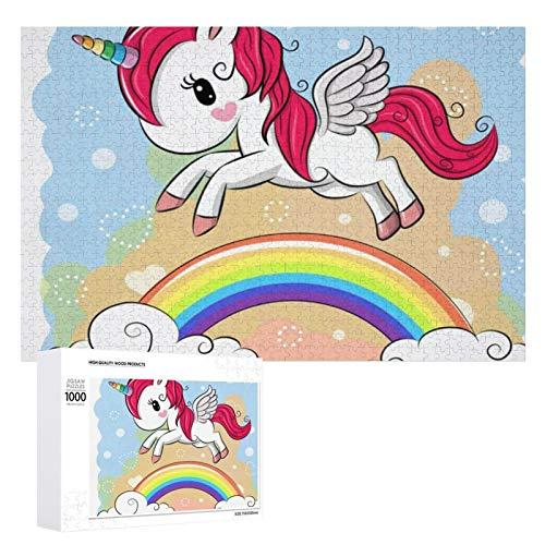 Juego de rompecabezas de 1000 piezas, diseño de dibujos animados de arco iris, tamaño grande, juego de rompecabezas de aprendizaje, decoración de pared