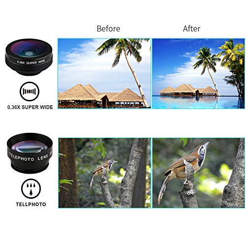Clip Lens Kit 7 in 1 Zoom Telephoto Lens + Fisheye + Wide Angle + Macro Lens + CPL + Kaleidoscope + Super Wide Lens