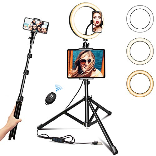 Ring Light with Tripod Stand 10.2' Selfie Ring Light with Phone/Pad Holder for Live Sream/Makeup JOGDRC Mini LED Camera Ringlight for YouTube Video/Photography Compatible