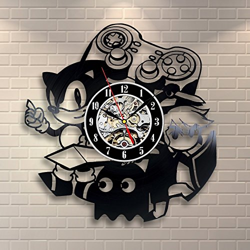 Sonic Game Vinyl Record Wall Clock - Decorate your home with Modern Art - Gift for kids, girls and boys - Win a prize for a feedback
