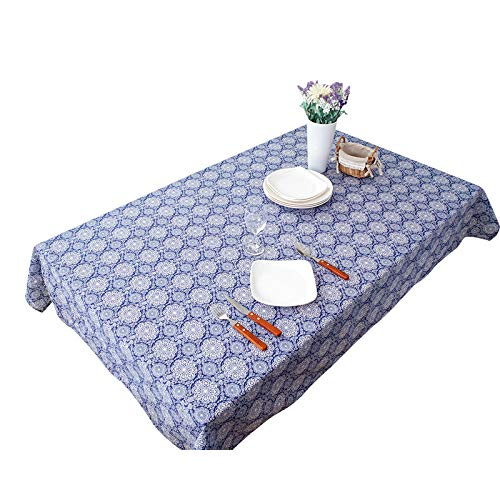 marca blanca New cotton and linen fabric table cloth table cloth cover rectangular bedside table cover towel blue 130 * 180cm