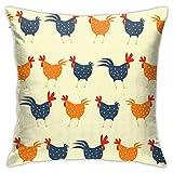 Bargburm Chicken Cock Throw Pillow Covers 18'' X 18'' Inch Square Decorative Pillowcase Pillow Cover Cushion