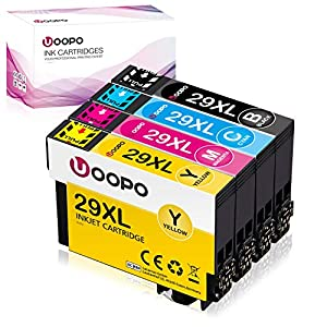 Uoopo 29XL Alta Capacidad Cartuchos de tinta para Epson 29 Compatible con Epson Expression Home XP-235 XP-245 XP-247 XP-255 XP-332 XP-335 XP-342 XP-345 XP-355 XP-432 XP-435 XP-442 XP-445 (B/C/M/Y)