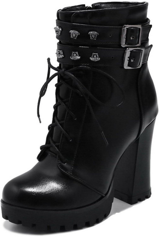 BalaMasa Womens Zipper Platform Comfort Microfiber Boots