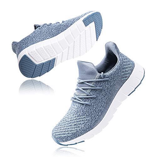 Zapatillas Running Hombre Bambas Zapatos para Correr y Asfalto Aire Libre y Deportes Calzado Casual Tenis Outdoor Gimnasio Sneakers Negro Gris Azul Número 38-48 EU Azul 38