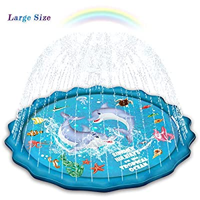 """Abida Splash Pad, 65"""" Outside Sprinkler Play Mat for Kids, Extra Large Party Infant Wading Pool Fun Summer Outdoor Water Toys for 2-12 Years Old Baby and Toddler Girls and Boys"""