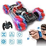 GoolRC RC Stunt Car Remote Control Car, 4WD Watch Gesture Sensor Control Deformable Electric Car All-Terrain Car Auto-Demo for Kids w/ LED Light Music