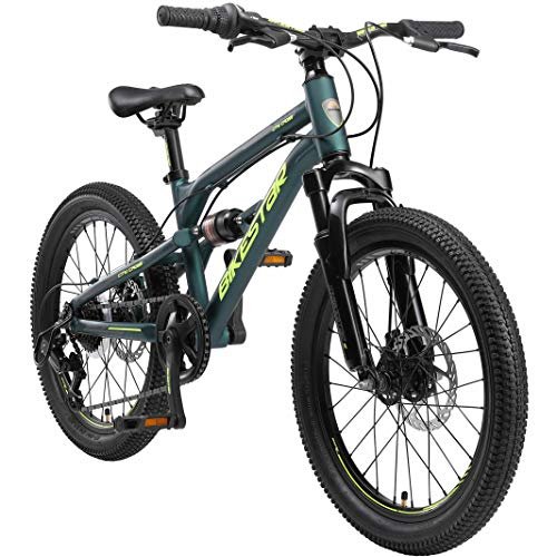 BIKESTAR MTB Mountain Bike Sospensione Completa Alluminio per Bambini 6 Anni | Bicicletta 20 Pollici 7 velocità Shimano, Freni a Disco | Verde Scuro