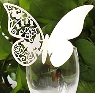 CXLKST Butterfly Name Place Card Holder Wedding Party Table Number Quality Wine Glass Decoration Pack of 50