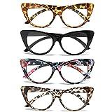 MMOWW - Confezione da 4 Occhiali da Lettura con Occhio di Gatto, Lettori di moda comodi ed eleganti per le donne, Oversized cat eye, +3.5