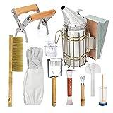 Primlisa Set di 10 attrezzi per apicoltura, in acciaio inox, per apicoltura, affumicatore, apicoltura, fumatore, apicoltura, strumenti per l'apicoltura