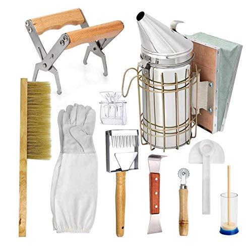 Kit de herramientas de apicultura – Ahumador de colmena, accesorio de apicultura – herramienta de mantenimiento de abeja (juego de 10 piezas)