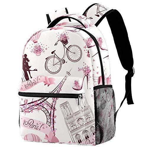 Shiiny Romantic Travel in Paris Kids Children Sport Bag Backpack Daypack Rucksack Kindergarten School for Boys Girls