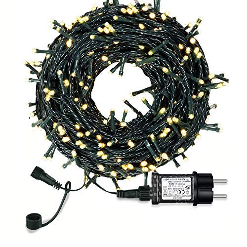 Lichterkette Weihnachtsbaum, LED Lichterkette mit 300 LED in warm weiß, 8 Leuchtmodi Dimmbar, EU Stecker, IP44 Wasserdicht, Lichterkette für Party, Feier, Hochzeit, Weihnachtsschmuck, Innen und Außen