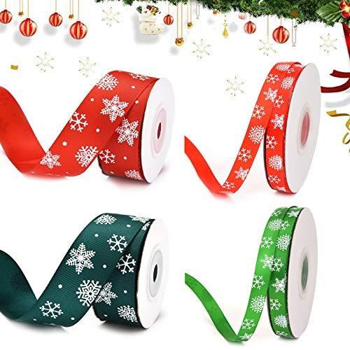 4 Rolle Weihnachtsbänder Ripsband Weihnachten Dekoband Geschenkband Schneeflocke Rot/Grün Satinband für Weihnachten Geschenkverpackung Basteln DIY Handwerk Party Deco Haarband Nähen Hochzeit (25/10mm)