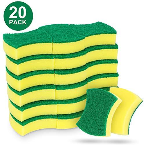 RenFox Putzschwamm Küche 20 Stück Zweiseitig Reinigungsschwamm Fleckenentferner-Pad Für Hartnäckigen Schmutz Hygienisch Saugstark Rechteckig, Mehrzweck