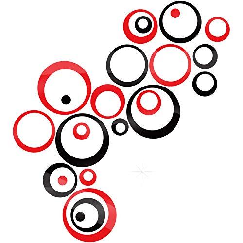 24 pegatinas redondas de acrílico espejo plateado para decoración de pared, adhesivo de pared extraíble