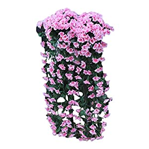 Juesi Hanging Flowers Artificial Violet Flower Wall Wisteria Basket Hanging Garland Vine Flowers Fake Silk Orchid (Pink)