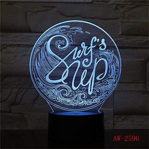 Nur 1 Stück Farbwechsel LED 3D Humongous Wave Modellierung Tischlampe Kids Touch USB Surfing NightLight Schlaflampen Beleuchtung