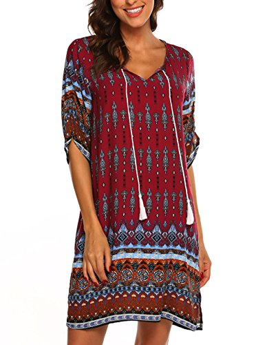 Women Bohemian Dress Ethnic Printed Summer Shift Casual Dress Beach Cover up 2X,Wine Red