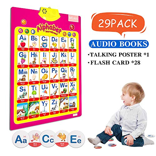 MEckily Educational Preschool Electronic Interactive Talking Poster Toy Kids Learning Posters Parent-child interaction learning educational toy-Give extra study cards?Transparent hook