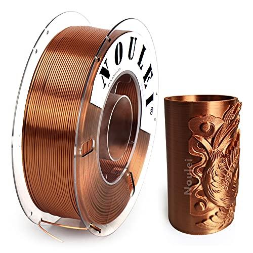 Noulei Shiny PLA 3D Printing Filament 1.75mm Silk COPPER for 3D Printer and 3D Pen, 1kg 1 Spool +/-0.02mm