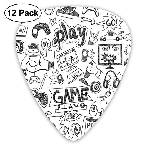 Guitar Picks Monochrome Sketch Style Gaming Design Racing Monitor Gerät Gadget Teen 90er Jahre, für Bass Electric Acoustic Guitars-12 Pack