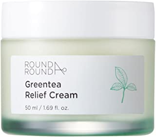 [ROUND A'ROUND] Green Tea Relief Cream 50ml - 79% Green Tea Water Contained Skin Soothing Facial Cream, Fresh Lightweight Texture Moisturizing Cream for Tired Skin