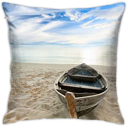 July Boot op het strand gooien kussensloop vierkante kussenhoes voor Home Sofa Slaapkamer Auto Stoel Huis Party