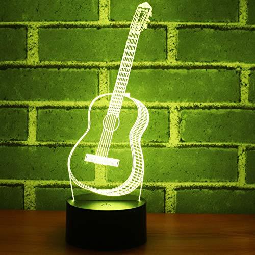 3D Muziek Gitaar Nachtlampje voor Kinderen, 7 Kleuren Veranderend met Afstandsbediening, Dimbare Kids Kamer Decor Lamp Vakantie en Verjaardag Geschenken voor Kinderen