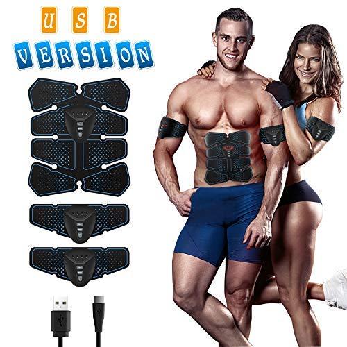 ISUDA EMS Trainingsgerät Bauchmuskeltrainer Training Muskelaufbau Elektrostimulation Fitness Geräte Muskelstimulation Elektrostimulation USB und batteriebetrieben für Herren Damen