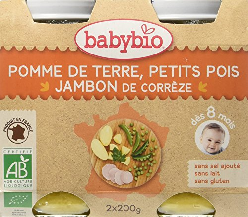 Babybio Pots Pomme de Terre Petits Pois/Jambon de Corrèze 400 g - Lot de 6