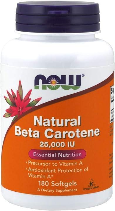 now foods natural beta carotene 180 softgels - 360 g now 25000iu 0322