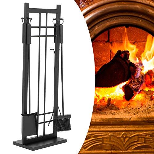 Pissente Kaminbesteck, 5-Teiliges Altmodisches Schmiedeeisen Innen Kamin Zubehor Kamin Werkzeuge Set, Schwarz