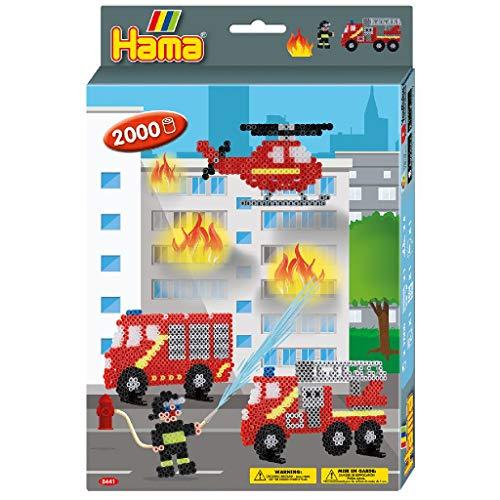 Hama Perlen 3441 Geschenkset Feuerwehr mit ca. 2.000 bunten Midi Bügelperlen mit Durchmesser 5 mm, Motivvorlage und Stiftplatte, inkl. Bügelpapier, kreativer Bastelspaß für Groß und Klein