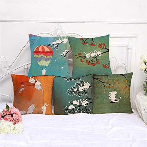 MBWLKJ Juego de 5 fundas de cojín decorativas de 45 x 45 cm, con dibujos animados, conejos, algodón y lino, para sofá, coche, dormitorio, hogar (patrón en ambos lados)
