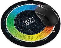 滑り止めの丸いマウスパッド たっての熱 ホームオフィスおよびゲームデスク用のグレープフルーツオレンジスライスパターンマウスパッド-2021Calendar(Style2)