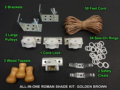 All-in-One Roman Shade Hardware KIT, in Golden Brown (All The Basics You Need: Cord Lock, Pulleys, Cord, Brackets, Cleats, Rings)