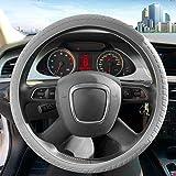 ZATOOTO Silicone Car Steering Wheel Covers - Grey Nonslip 3D Massage Hands 13 Inch - 16.5 Inch for Women Men Better Grip
