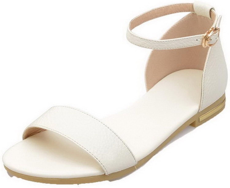 AllhqFashion Women's Open Toe Buckle Pu Solid Low Heels Sandals