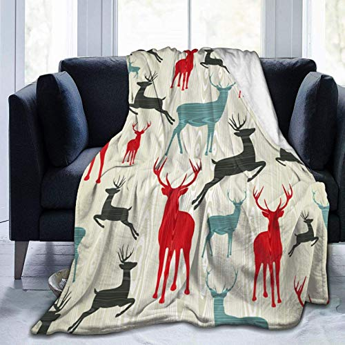 AEMAPE Throw Blanket,Christmas Wooden Reindeer Backgroung,Warm Blanket For Sofa Bedroom Travel Micro Fleece Blanket