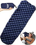 WELLAX Ultralight Air Sleeping Pad - Inflatable Camping Mat for Backpacking, Traveling and Hiking Air Cell Design for Better Stability & Support -Best Sleeping Pad (Blue)