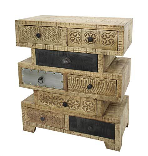 DARO DEKO Mango-Holz Möbel Kommode abstrakt 8 Schubladen