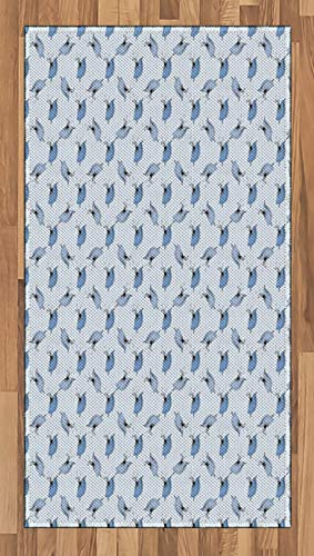 ABAKUHAUS Ballerine Tapis Tissé à Plat, Artistes interprètes ou exécutants Sketch Fille, Salle de Séjour Chambre à Coucher Salle à Manger, 80 x 150 cm, Bleu bébé Ceil Bleu