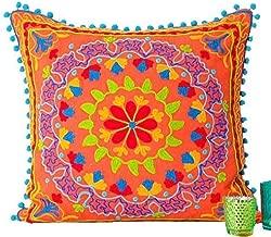 Embroidered Orange Cotton Suzani Indian Cushion Cover. 20
